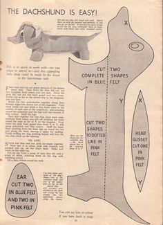 Great British Sewing Bee :: Make your own Dachshund. livin vintage: How To Make Vintage Stuff Toys: The Ducking and The Dachshund