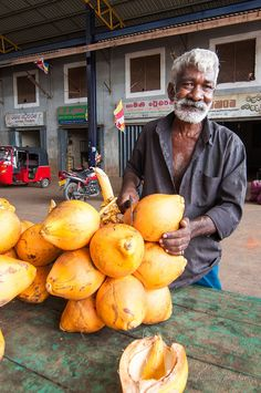 King coconut master in Sri Lanka: These fresh coconuts are sold on the side of the road; the master will slice a hole, stick in a straw and you can drink straight from the coconut!