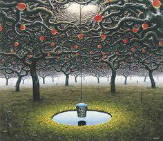 Garden - (Jacek Yerka) #surrealism #art #painting #garden #bucket #symbolism #yerka