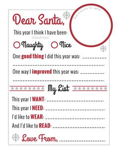 "Amazing ""Dear Santa"" Christmas Wish List Printable! Free until Dec. 25th, 2014 from @christellasays:"