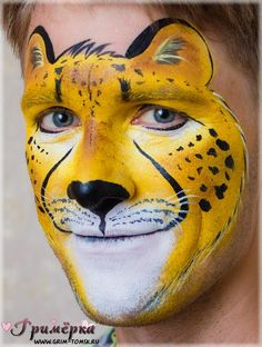 Аквагрим, грим, гепард face painting, make-up, cheetah ideas for kids