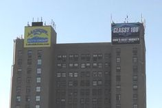 24' x 34' billboards high atop the Renaissance Centre in downtown Erie, PA.  170' in the air.  Yes, we installed the film on-site.  Best view in the city!