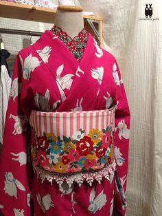 ✮ ~ 'Wafuku' Japanese traditional clothing ~ kimono with rabbit print & floral printed obi with lace ~ ☽