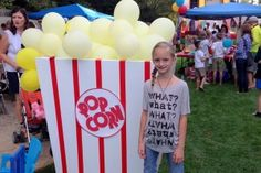 I attended a fundraiser last night with a carnival theme. My family had a blast all in the name of a good cause. While we were there, I fell in love with one of the big pieces of decor for the carnival. It was this giant box of popcorn near the concession stand. I had my daughter take a quick pic by it, because I loved it so much. It really wouldn't be very difficult to make. To make one, you would just need: - a big wooden or cardboard box - painted white - giant red letters spelling the...