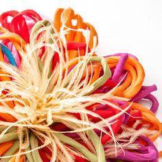 multicolour Dahlia, handmade accessory in silk and ostrich feathers - Antonio Ortega Ostrich Feathers, Handmade Accessories, Dahlia, Silk, Dahlia Flower, Jewelry Supplies, Dahlias, The Birdcage