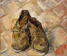 Van Gogh, A Pair of Shoes, August Oil on canvas, 44 x 53 cm. The Metropolitan Museum of Art, New York. When you're famous even a painting pair of old shoes is expensive. Pierre Auguste Renoir, Auguste Rodin, Van Gogh Pinturas, Vincent Van Gogh, Claude Monet, Desenhos Van Gogh, Van Gogh Arte, Oil On Canvas, Canvas Prints