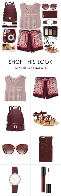 """printed burgundy shorts"" by juliehalloran ❤ liked on Polyvore featuring Express, Hollister Co., Michael Kors, K. Jacques, Salvatore Ferragamo, Maison Margiela, DKNY, Bare Escentuals, NARS Cosmetics and Polaroid"
