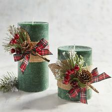 A snow-tipped holiday fragrance of evergreen, balsam and pine, warmed with Texas cedar and Spanish moss—all in pretty, hand-molded candles to fit your favorite holders. Christmas Candle Decorations, Christmas Candles, Christmas Wreaths, Christmas Crafts, Christmas Ornaments, Easter Flower Arrangements, Illustration Noel, Diy Candles, Pillar Candles