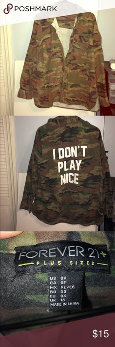 Forever 21 plus size The perfect camo oversized jacket. New without tags. Only worn once for photos. Jackets & Coats