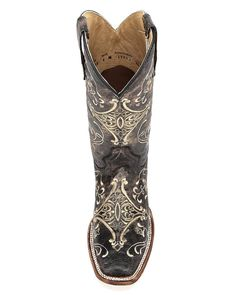 Women's Circle G by Corral Brown Crackle/Bone Embroidery Square Toe Boot - L5078, Brown Crackle / Bone
