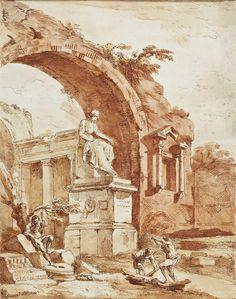 Estampe/Affiche - D'après Hubert ROBERT (1733-1808) - Jean-Claude richard, Abbé de Saint-Non ? vers 1785