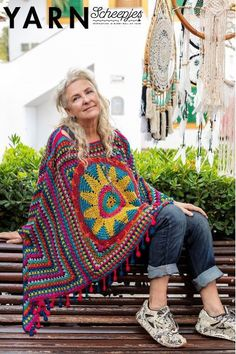Easy-breezy, soft and flowing, this poncho is the perfect cover-up for milder days. The classic granny stitch design looks equally eye-catching from all angles. Blue Opal, Stitch Design, Zine, Cover Up, Handsome, Purple, Crochet, Granny Squares, Cotton