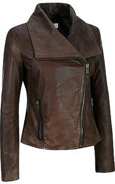 Marc New York Envelope Collar Asymmetrical Zip Leather Jacket - Wilsons Leather