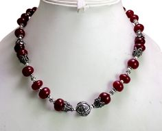 (SKU No. 298ct) 298ct Natural Red Ruby Designer Beads Necklace Cabochon with Silver Beads