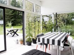 Outbuilding of the Week: Black and White Orangery, Scandi Style - Gardenista Outdoor Rooms, Outdoor Furniture Sets, Outdoor Decor, Indoor Outdoor, Outdoor Dining, Home Design, Boho Deco, Wooden Greenhouses, Green House Design