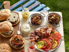 Food Network: Recipe of the Day: The Ultimate Burger Bar For the ultimate backyard bash, you need Tyler's Ultimate . Hamburgers, Cheeseburgers, Sandwiches, Grilling Recipes, Cooking Recipes, Grilling Tips, Cooking Tips, Easy Cooking, Barbecue Recipes