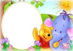 Cute Kids PNG Photo Frame with Winnie The Pooh