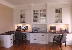 Dual work stations with seeded glass display cabinet