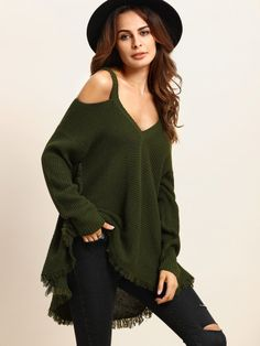 Army Green Cold Shoulder Long Sleeve Knitted T-shirt -SheIn(Sheinside) Mobile Site