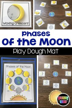 Blast Off With These Preschool Space Activities - Science - Phases of the Moon Play Dough mat for a space themed unit Best Picture For space buns For Your Ta - Space Theme Preschool, Planets Activities, Space Activities For Kids, Preschool Science, Kindergarten Activities, Planets Preschool, Space Theme Classroom, Earth Science Activities, Solar System Activities