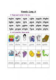 English worksheet: Long vowel A Long Vowel Worksheets, Grammar Worksheets, Sight Word Practice, Sight Word Games, Nonsense Words, English Language, Language Arts, Long Vowels, How To Pronounce
