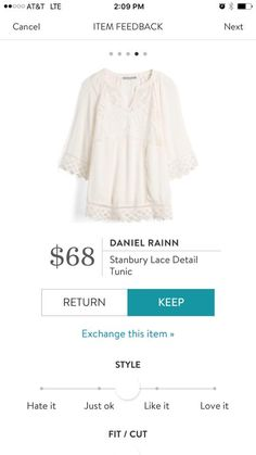 Dear Stitch Fix Stylist - I'm always on the lookout for longer tops to wear with leggings. The lace detail on this is super cute.
