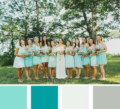 Summer Wedding Dresses July is All About Color month here at mywedding and we love this teal and blue summer wedding color palette! - Sometimes, planning a wedding starts with the simplest of ideas - like the perfect wedding color palette. Aqua Wedding Colors, Teal And Grey Wedding, Summer Wedding Colors, Wedding Color Schemes, Summer Colors, Wedding Flowers, Burgundy Wedding, Blue Bridesmaids, Wedding Bridesmaids