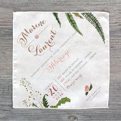 Faire-part sur tissu en coton finition bourdon, dessins style botanique…