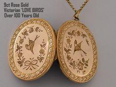 9K 'Lovebirds' Antique Rose Gold Locket by AntiqueLockets on Etsy