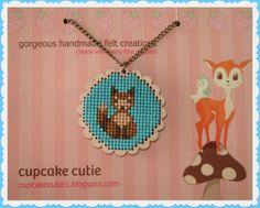 Mr Fox. Wooden cross stitch pendant. Woodland by cupcakecutie1, $25.00