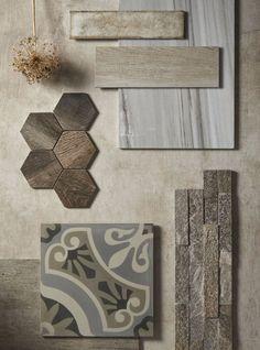 Mood board of warm, earthy tones. All tiles from Mandarin Stone