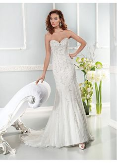 ALLURING TULLE SWEETHEART NECKLINE NATURAL WAISTLINE A-LINE WEDDING DRESS SEXY LADY LACE FORMAL PROM BRIDESSMAID