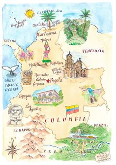 Map of Colombia - Michael Hill Colombia Map, Colombia Travel, Travel Maps, Travel Posters, Places To Travel, Peru, Arte Latina, Equador, South America Travel