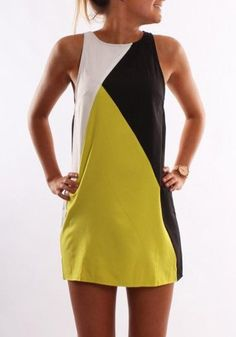 Yellow Color Block Casual Round Neck Sleeveless Mini Dress