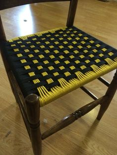 It's fairly easy to find old wooden chairs with broken out seat bottoms. Often the chair frame is solid, but no one is interested in reweaving the rush bottom. Old Wooden Chairs, Old Chairs, Painted Chairs, Ikea Chairs, Rattan Chairs, Hanging Chairs, White Chairs, Upholstered Chairs, Diy Furniture Chair