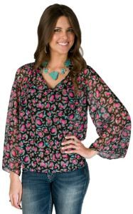 Karlie Ladies Black with Pink and Turquoise Floral Sheer Long Sleeve Fashion Top