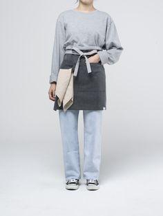 Charcoal Medium Apron Cafe Uniform, Waiter Uniform, Sweet Factory, Work Looks, Aprons, No Frills, Farmer, Logo Design, Normcore