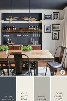 White Dove and Hale Navy pairs nicely with Classic Gray and Sea Haze. White Dove and Hale Navy pairs nicely with Classic Gray and Sea Haze. Room, Farm House Living Room, Family Room, Home, Paint Colors For Home, Room Color Combination, Dining Room Paint, Hale Navy, Room Colors