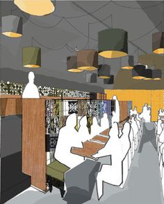An artistic interpretation of the interior for a hip restaurant in Birgu Waterfront, Malta.