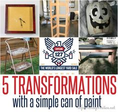 DIY Ideas | Oh the wonders of paint.. . Check out how these five yard sale items were transformed with a simple can of paint!