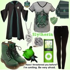 """slytherin outfit xx"" by alltimeinsane-slytherinmybedplzz ❤ liked on Polyvore"
