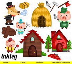 Three Little Pigs Clipart Three Little Pigs Clip Art Three Wolf Clipart, Cute Clipart, Pig Png, Three Little Pigs Story, Petite Section, Pig Party, Clipart Design, Stories For Kids, Preschool Activities