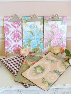 wallpaper covered clipboards for the office & teacher gifts// we did these for all of morganu0027s teachers when she ...