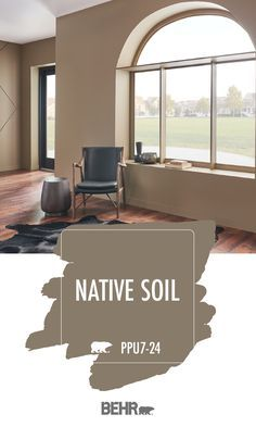 Rustic and rugged, this living room provides plenty of gorgeous style inspiration for your home. And it's all thanks to a new coat of Behr Paint in Native Soil. This warm brown hue pairs beautifully with the wood floors, cowhide rug, and leather furniture Brown Paint Colors, Behr Paint Colors, Interior Paint Colors, Rustic Paint Colors, Bathroom Colors Brown, Paint Colors For Living Room, Paint Colors For Home, House Colors, Living Room Decor