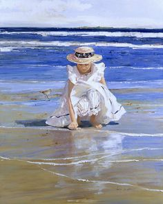 Sally Swatland early morning on the island painting for sale - Sally Swatland early morning on the island is handmade art reproduction; You can buy Sally Swatland early morning on the island painting on canvas or frame. Beach Play, Beach Girls, Beach Art, Seaside Art, Art Plage, Norman Rockwell, Am Meer, Beach Scenes, Paintings For Sale