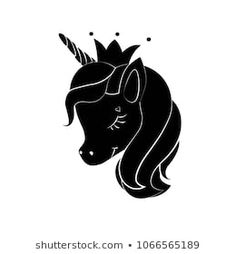 Black silhouette of little unicorn with crown on white background. Black shape of unicorn's head. Graphic badge, banner, icon, print or logo. My Little Unicorn, Black Unicorn, Unicorn Head, Unicorn Print, Unicorn Party, Unicorn Stencil, Unicorn Images, Unicorn Pictures, Black Silhouette