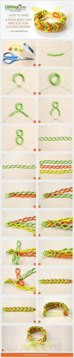 How to Make a Pony Bead Cuff Bracelet for Golden Autumn (This might be cute using seed beads instead of pony beads) Pony Bead Bracelets, Beaded Cuff Bracelet, Diy Bracelet, Cuff Bracelets, Seed Bead Jewelry, Bead Jewellery, Beaded Jewelry Patterns, Beading Patterns, Bead Crafts