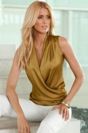 A Star is Born - the plunging drape top. Sleek, sexy & perfect for layering. #bostonproper #shirts #fashion