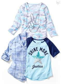 Statement-making tops with a touch of shine. Preteen Girls Fashion, Teen Girl Outfits, Teen Fashion Outfits, Outfits For Teens, Teenage Outfits, Fashion Clothes, Girls Clothing Brands, Clothing Stores, Girl Clothing