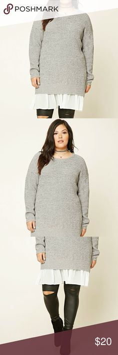 Plus Size Knot Grey Sweater Chiffon Ivory Dress Soft and comfy sweater dress with a faux underlay of frilly chiffon. Sweet and girly but you can add edgy look to it. So cute! A must-have. Forever 21 Dresses Long Sleeve